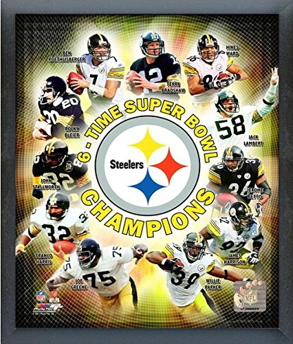 """2009 Pittsburgh Steelers NFL 8x10 Photograph Super Bowl XLIII 6 Time Champion Collage Photo (Size: 9"""" x 11"""") Framed"""