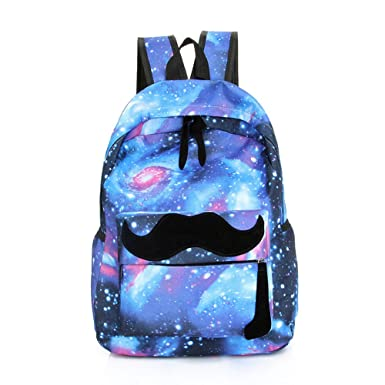 Amazon.com | Samaz Galaxy School Backpacks for Girls Cute Mustache ...