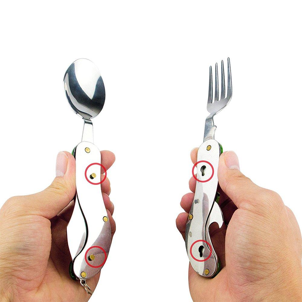Likorlove Portable 4-in-1 Camping Utensil, Stainless Steel Fork Spoon Knife Bottle Opener Set for Camping Cutlery Set/ Travel /Survival