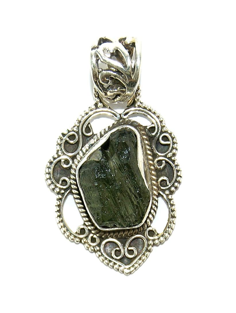 Moldavite Sterling Silver Pendant Vintage Design by Gifts and Guidance