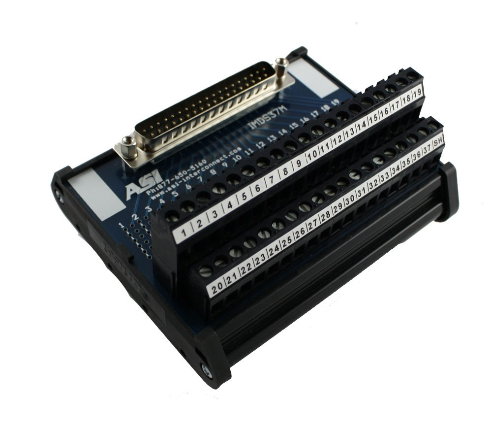 ASI 11006 26 to 12 AWG IMDS37M DIN Rail Mount Interface Module, Cable to Wire Transition, 37 Position Male D-Sub Connector to Screw Clamp Terminal Blocks, 4.19'' Length