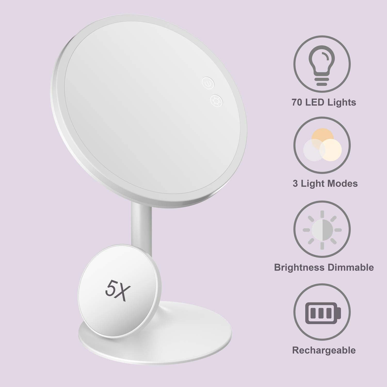 """Babyltrl 2019 Upgraded Makeup Mirror 70 LED Vanity Mirror with Lights, 9"""" Lighted Cosmetic Mirror with 1X/5X Magnification, 0-1600Lux Brightness Adjustable, 3 Color Lighting Modes, 90 Degree Rotation"""