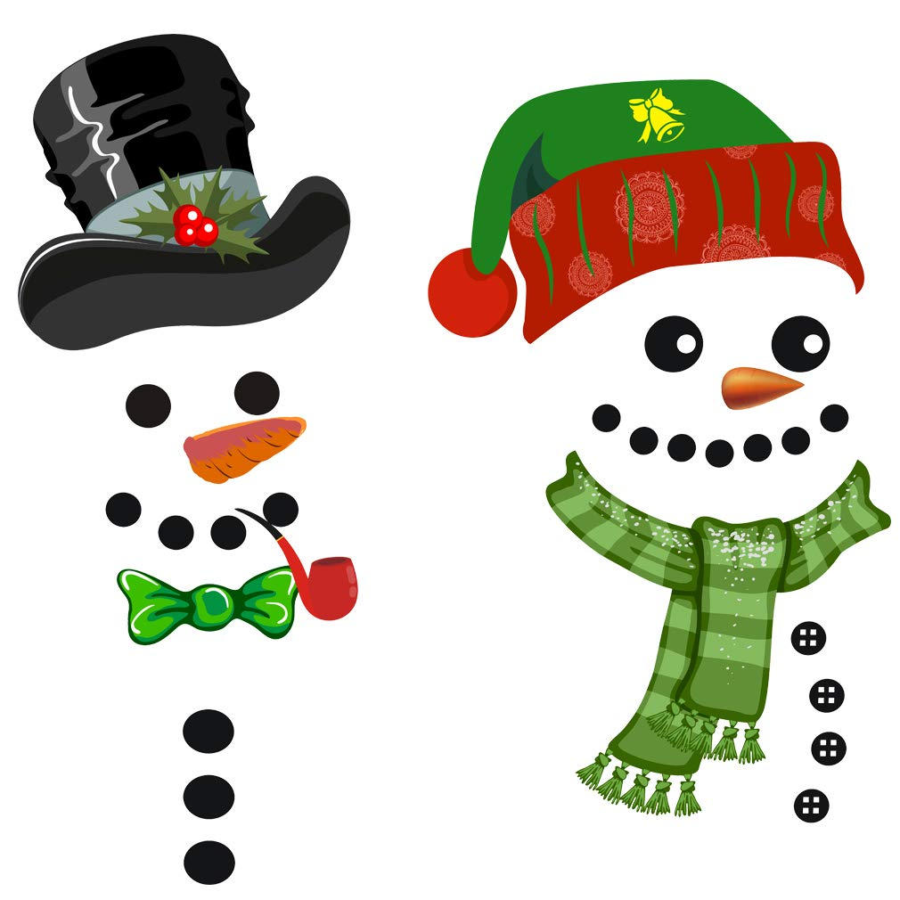 VIIRY Christmas Snowman Refrigerator Decals,Cute Classic Christmas Decorations DIY Self-adhensive Stickers for Refrigerator, Cabinets,Garage,Office Cabinets,Door and Windows(2 Patterns)