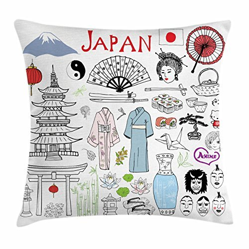 Japan Throw Pillow Cushion Cover, Sketch with Fujiyama Mountain Shinto Gate  Sushi Tea Fan Masks 4699631fce