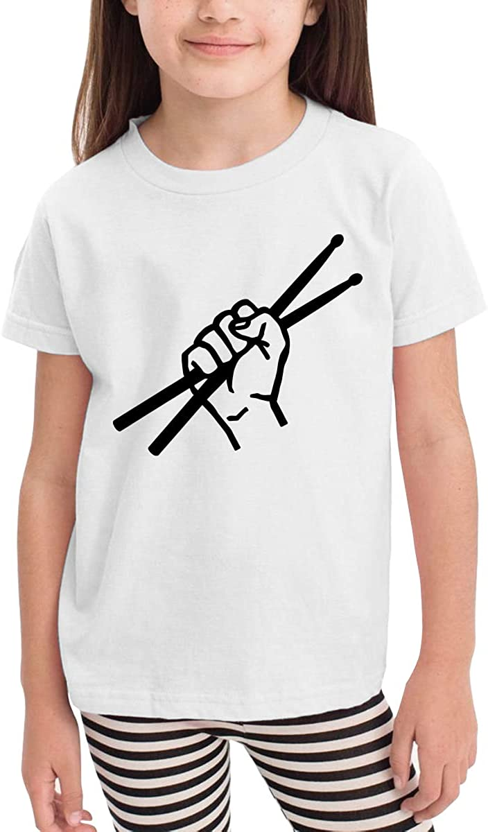 CERTONGCXTS Childrens Drumsticks Drummer Funny Cute Short Sleeve Tee Shirt Size 2-6