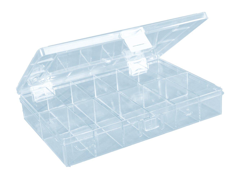 hünersdorff Sortimentskasten: stabile Sortierbox (PS) mit fester Fachaufteilung (12 Fächer), Sortierkasten-Maße: T170 x B250 x H46 mm, Made in Germany HNERT 613700
