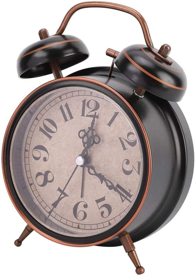 Alarm Clock Vintage Mechanical Light Night Luminous Manual Clock Double Twin Bell Clock for Bedrooms Time Management Heavy Sleepers 1#