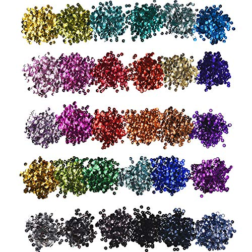 (Hestya 30 Colors Loose Sequins Cup Sequin Crafts Iridescent Spangles for DIY Making, 6 mm, 150 Gram)