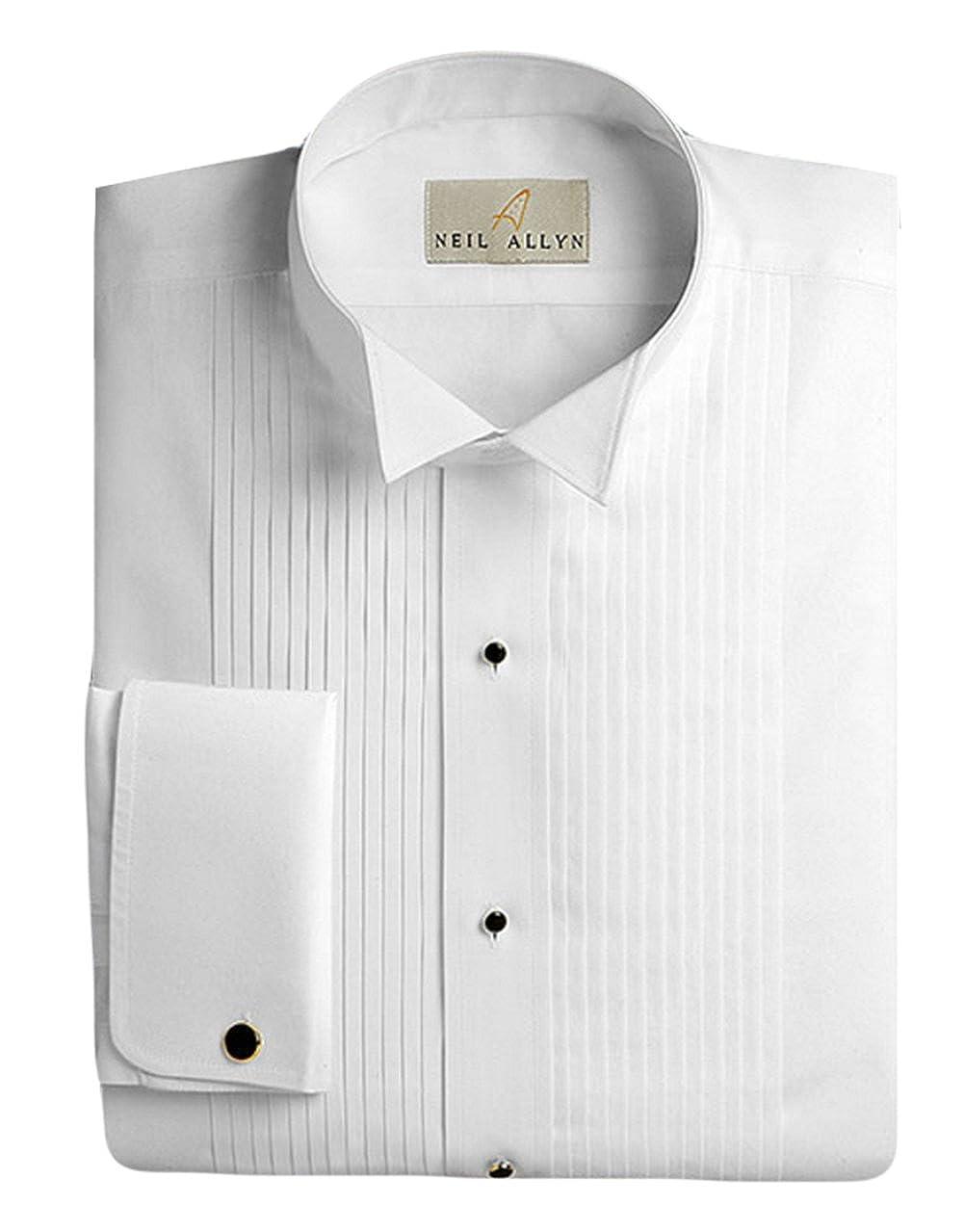 Neil Allyn Men's Tuxedo Shirt 100% Cotton 1/4 Pleat Wing Collar