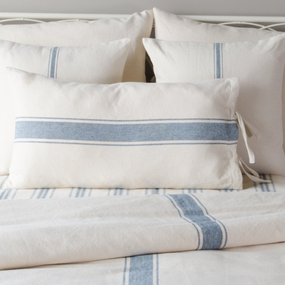 Home Collections by Raghu 18x18 Grain Sack Stripe Colonial Blue-Cream Pillow Cover PC165014