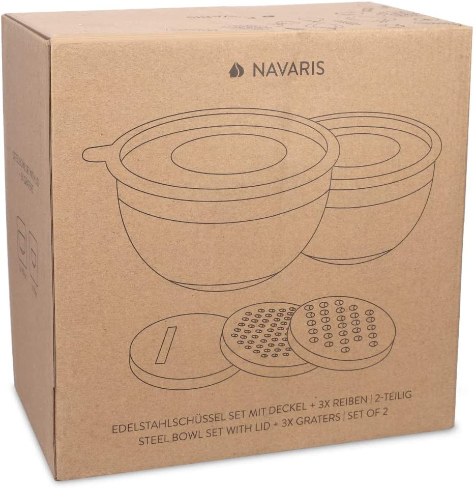 4.7L Baking Bowls with 3 Types of Graters 1.4 Navaris Stainless Steel Mixing Bowls and Graters Set of 2 Mixing Bowls with Lids and 3 Graters