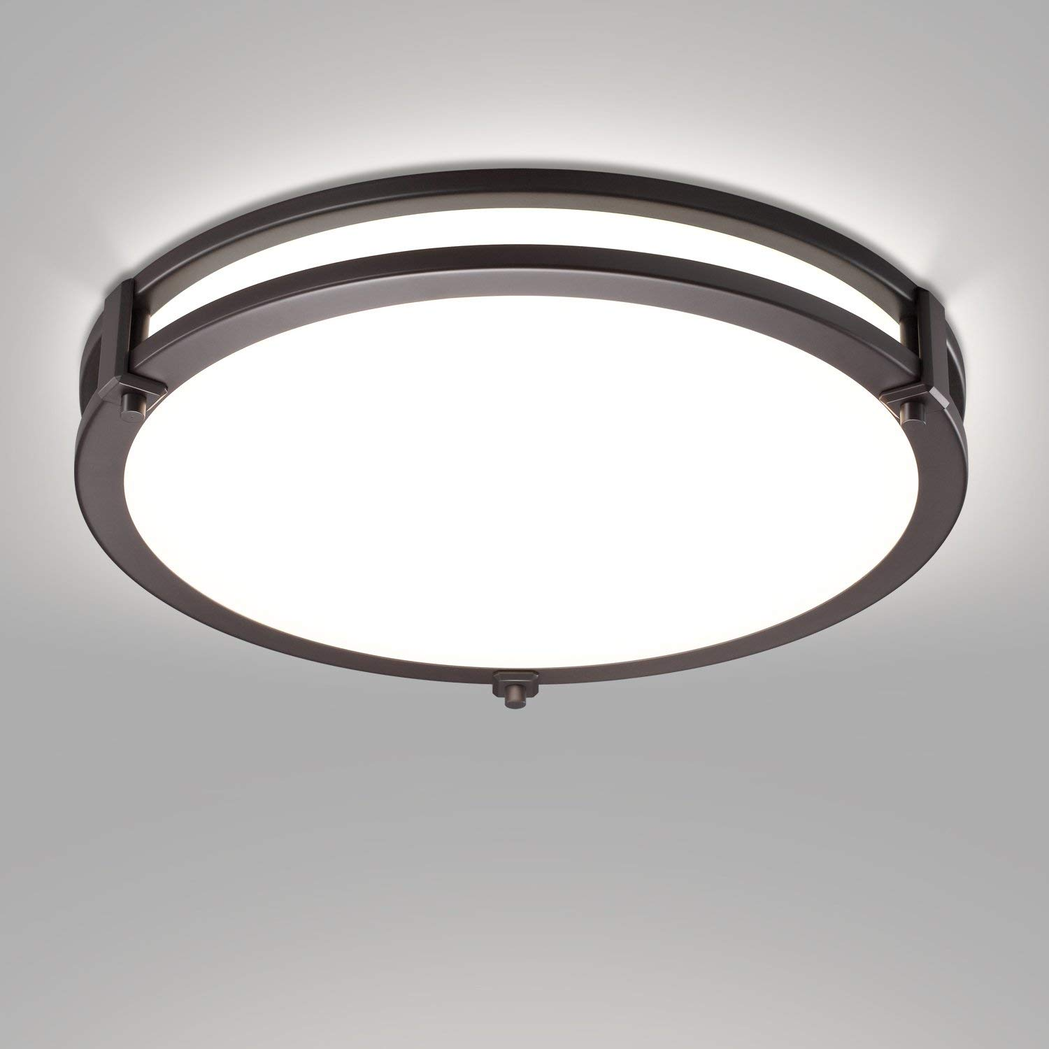 QPLUS Architectural Double Ring Flush Mount LED Ceiling Light Fixture 14 Inch - Bronze, 5000K - 1 Pack 5 Year Warranty 50000 Hours Energy Star Certified Dimmable cETLus