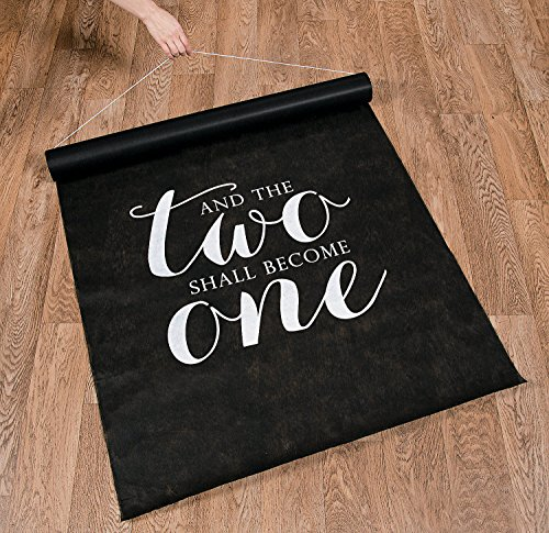 Unbranded 100 FT Black and The Two Shall Become ONE Wedding Aisle Runner Long Bridal -