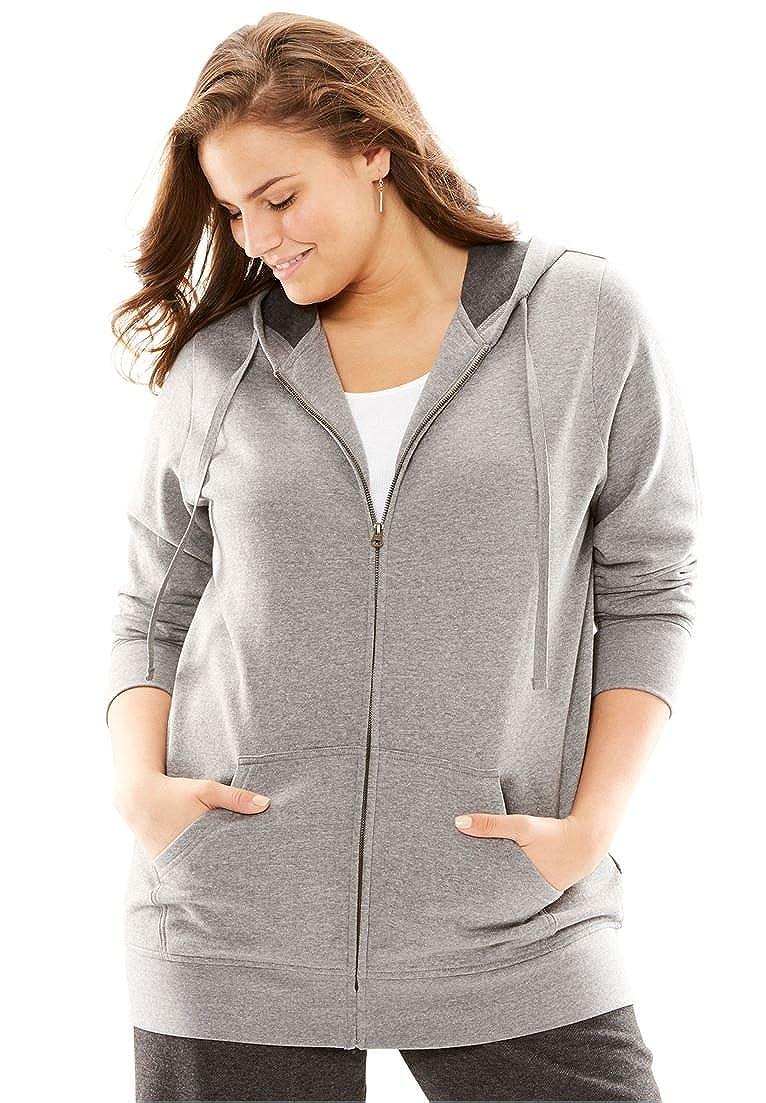 Woman Within Plus Size Hooded Better Fleece Sweatshirt Jacket