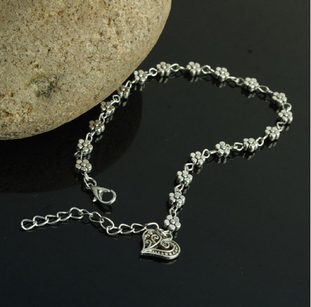 ILOVEDIY Anklet Bracelet de Cheville Argent Indien Perle Infini Femme Plage prune