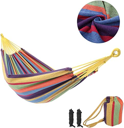 Ankishi Hammock, Travel Hammock with Tree Straps Round Backpack, Camping Hammock Blue Green Strip Color for Patio, Porch, Bedroom, Backyard Color Strip
