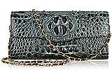 PIJUSHI Ladies Designer Studded Embossed Crocodile Evening Party Clutch Purse Wallet Handbag (65113, Black/Green)