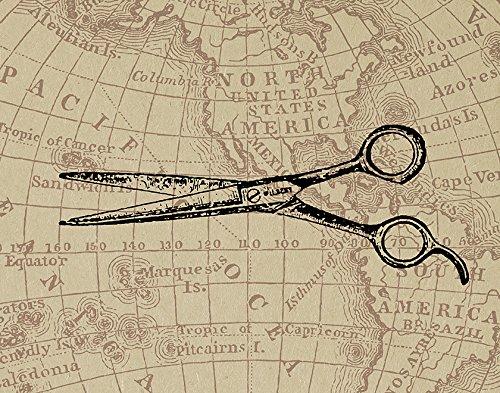 Amazon Com Retro Barber S Shears Print Illustrated Hair Scissors