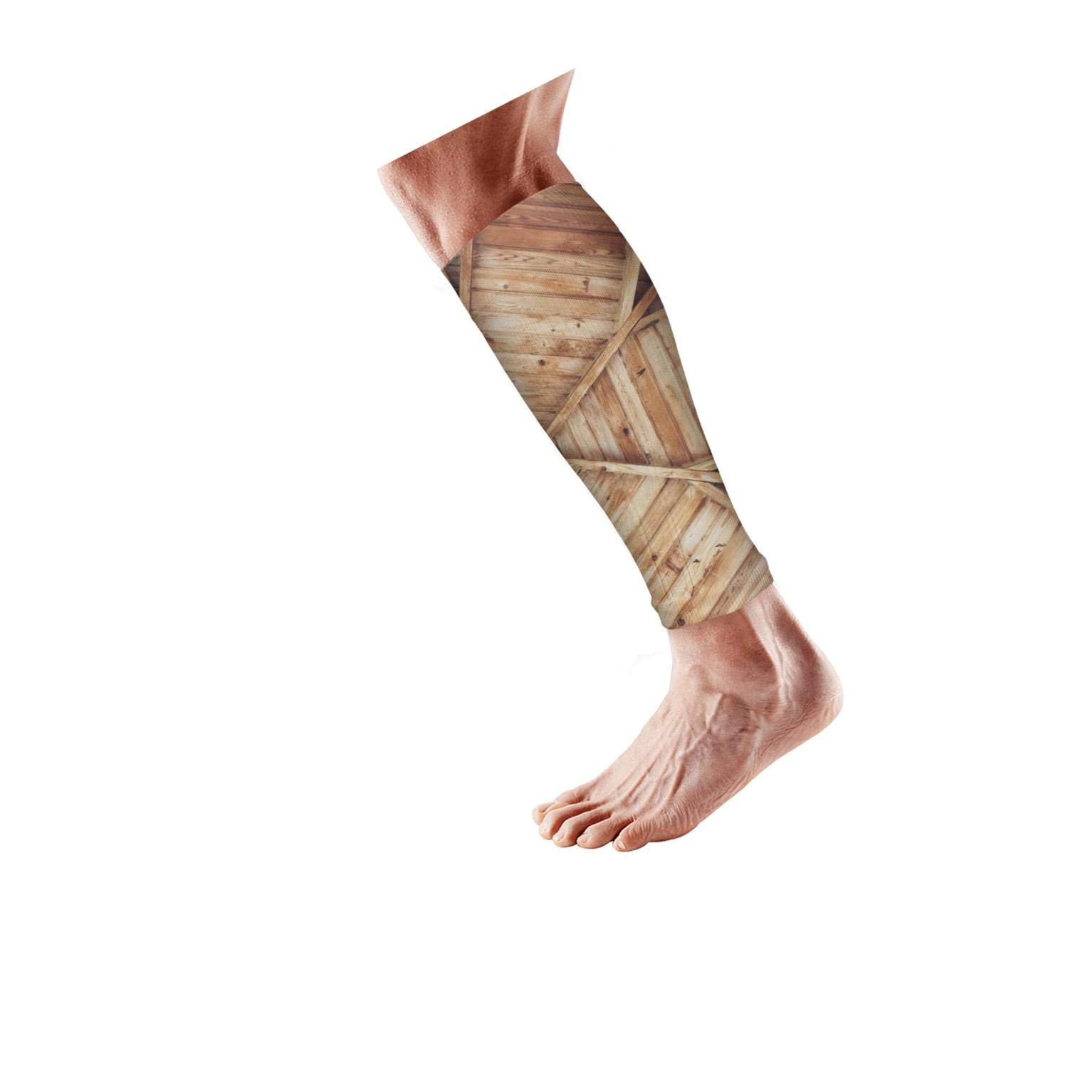 Smilelolly rustic Wooden Farmhouse Calf Compression Sleeves Helps Pain Relief Leg Sleeves for Men Women