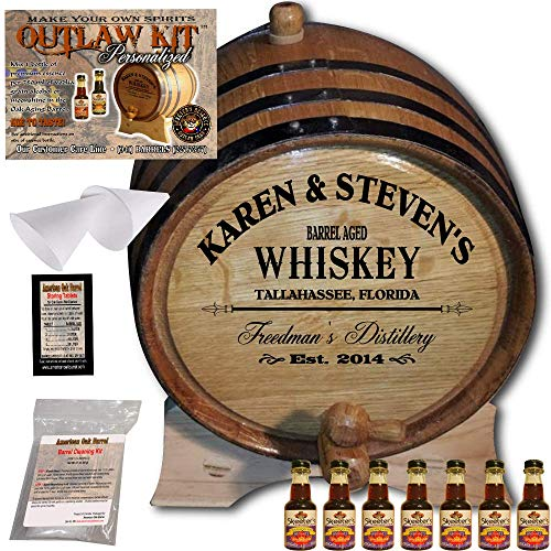 Personalized Whiskey Making Kit (063) - Create Your Own Canadian Rye Whiskey - The Outlaw Kit from Skeeter's Reserve Outlaw Gear - MADE BY American Oak Barrel - (Oak, Black Hoops, 5 Liter) ()