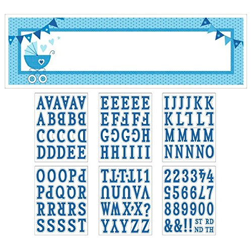amscan Celebrate Baby Boy Shower Party Customizable Giant Sign Banner Decoration, Blue and White, Plastic , 65
