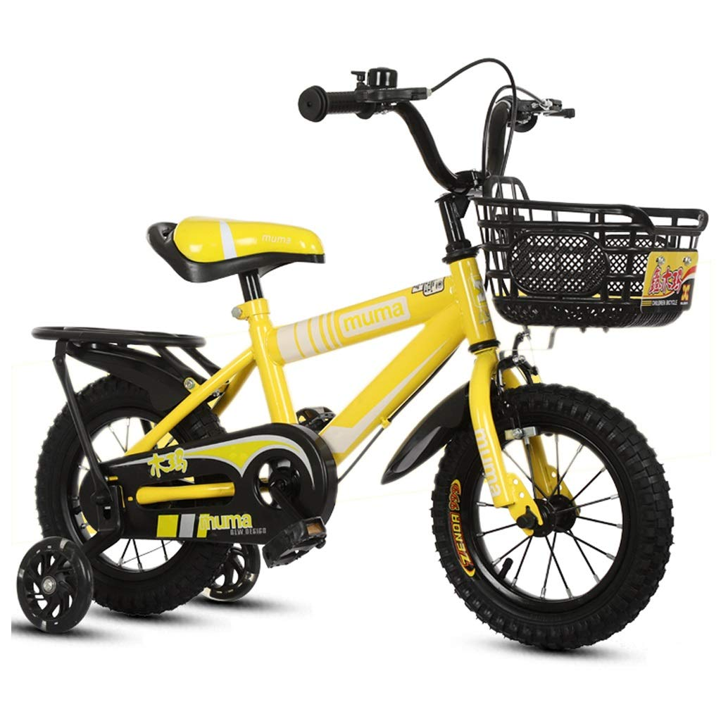 子供の自転車 ファッション男の子と女の子の屋外自転車に乗って 子供の自転車 2-8歳の子供の自転車 子供の屋外のお出かけの自転車 (Color : Yellow, Size : 12 inches) 12 inches Yellow B07Q23NHFM