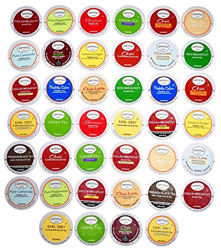 TWININGS K CUPS Tea Sampler Box - 40 COUNT - Variety Sampler Pack for Keurig K-Cup Brewers - Twinings English, Black, Green, Chai, Herbal, Decaffeinated Tea and more - Gift for Tea Lovers by Blue Ribbon