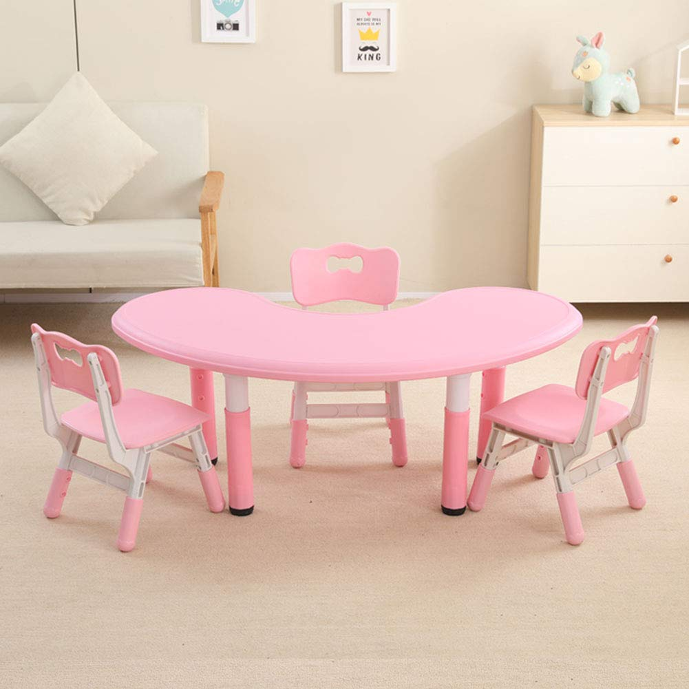 Pink 1 Table + 3 chairs HHXD Toddlers Study Table and Chair, Adjustable Height Plastic Half Moon Table and Ergonomic Chair,Kids Table and Chair Set for Boys and Girls Green   1 Table + 1 Chair