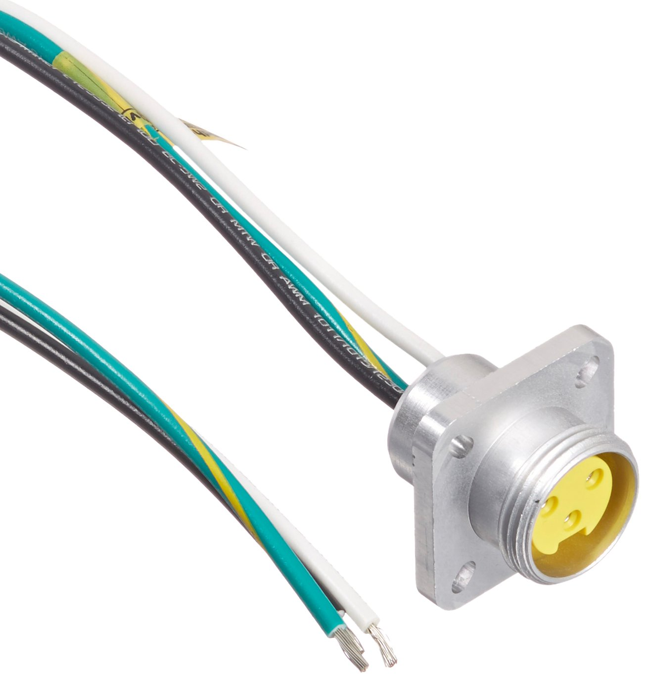 Brad 1R3G04A20A120 Mini-Change A-Size Receptacle with Lead, Female Straight, 3 Pole, Flange, UL1061 Cable Type, PVC Cable Jacket, 16AWG Wire Size, 13.0A Max Current Rating, 600V AC/DC Max Voltage, 12'' Cable Length, Front Panel Mount (Pack of 4) by Brad Automation