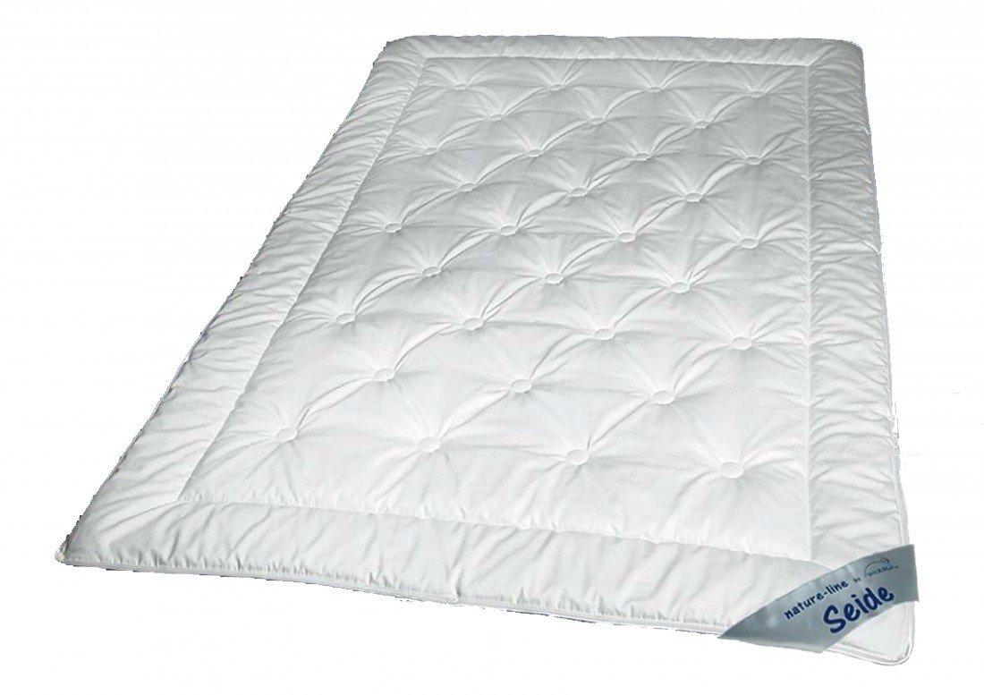 Sommer Steppbett 155 x 220-100% naturbelassene Tussah Seide (500g) - Extra leichte Waldenburger Bettdecke mit Baumwoll Bezug