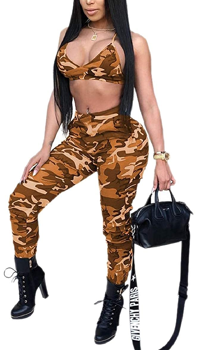 pujingge Womens Athletics Sweatpants 2PC Hipster Camo Printed Crop Top Outfits