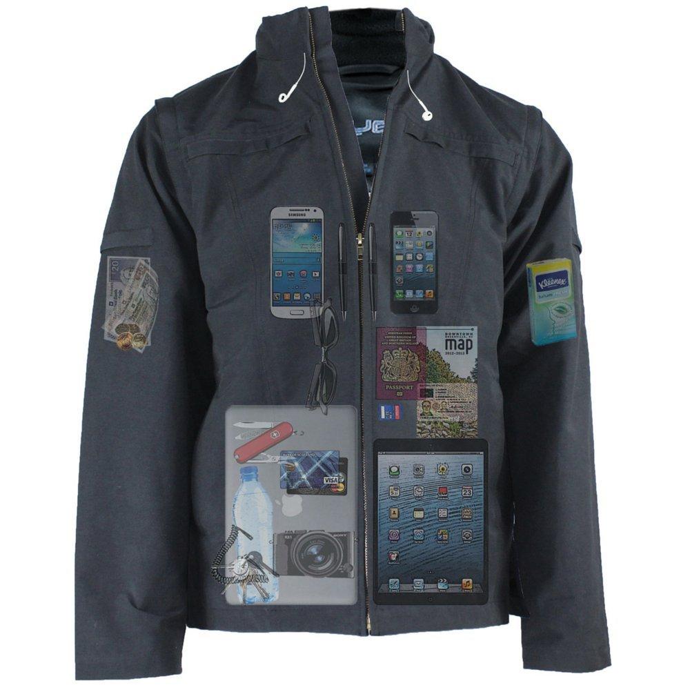 AyeGear J25 Jacket and Vest with 25 Pockets, Tablet iPad Pockets, Navy Blue L by AyeGear