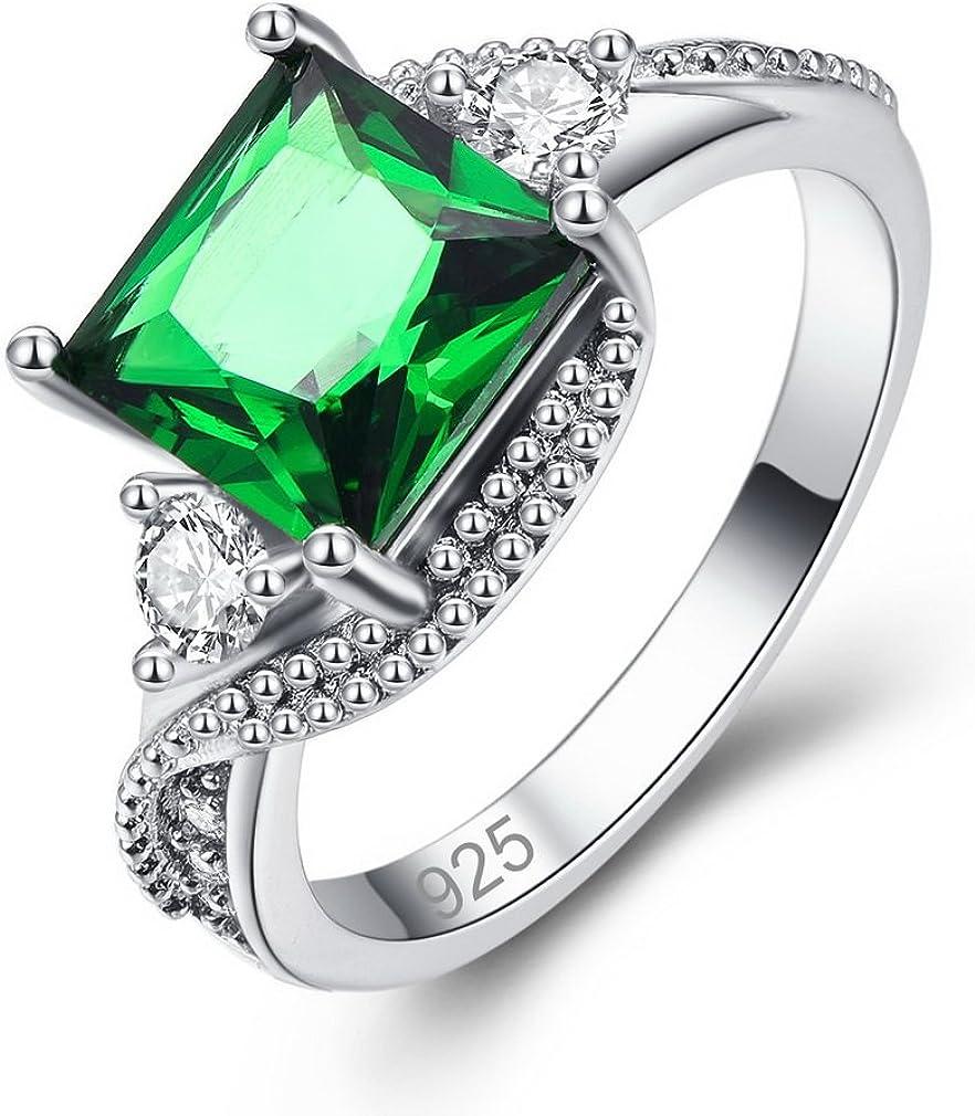 YAZILIND Anillo Promesa Verde Cuadrado Cubic Zirconia Platino Plateado Rhinestone Compromiso de Boda para Las Mujeres