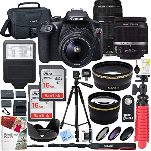 Canon T6 EOS Rebel DSLR Camera with EF-S 18-55mm f/3.5-5.6 IS II and EF 75-300mm f/4-5.6 III Lens and SanDisk Memory Cards 16GB 2 Pack Plus Triple Battery Accessory Bundle from Canon