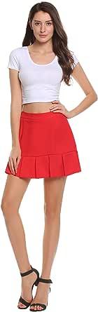 Zeagoo Women's High Waisted Stretch Pleated Mini Tennis Sport Skirt