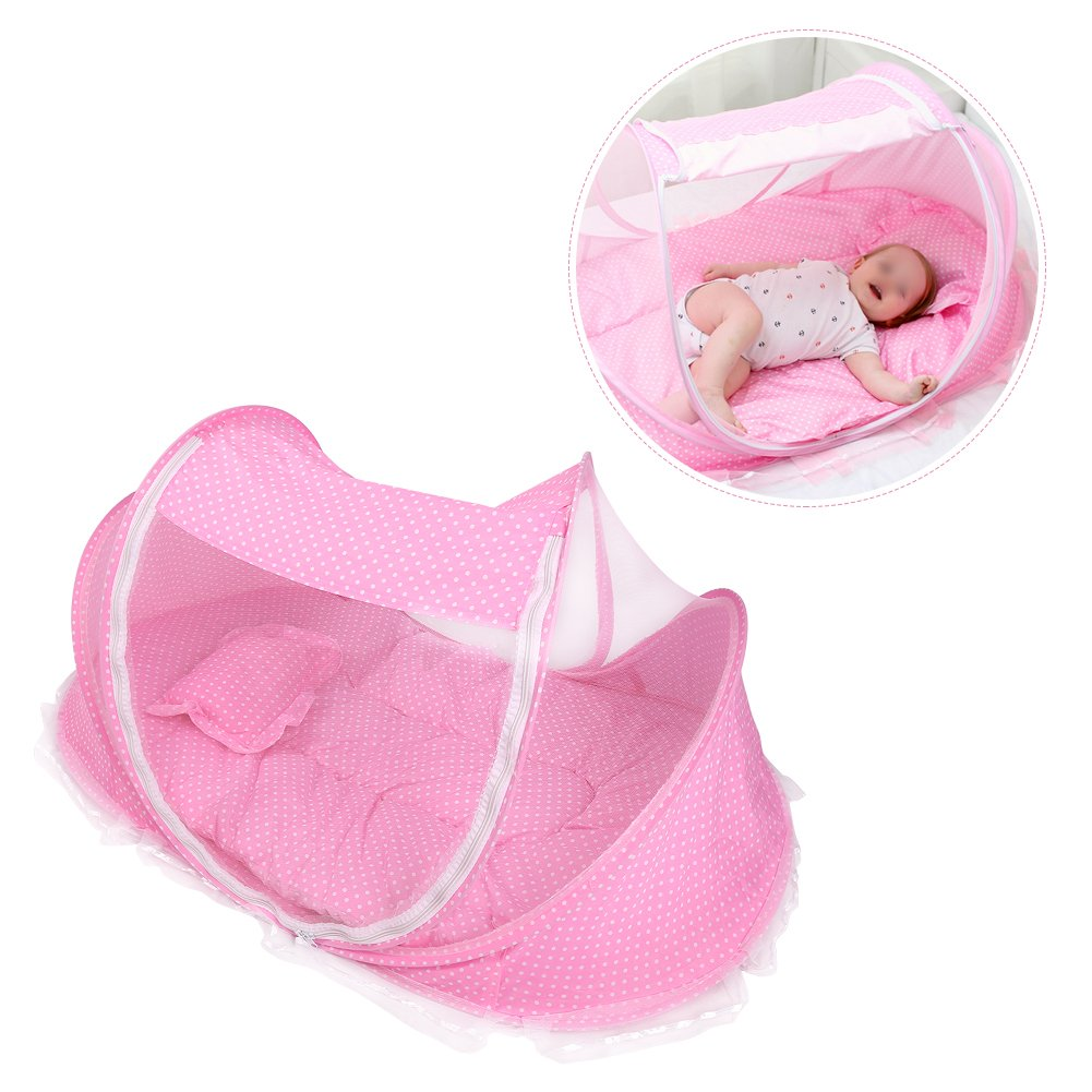 Foldable Baby Infant Pop-up Crib Cradle Anti-Bug Tent Mosquito Net With Mattress Pillow Portable Nursery Bed Crib Canopy Travel Beach Park Play Shades, Pink Yosoo