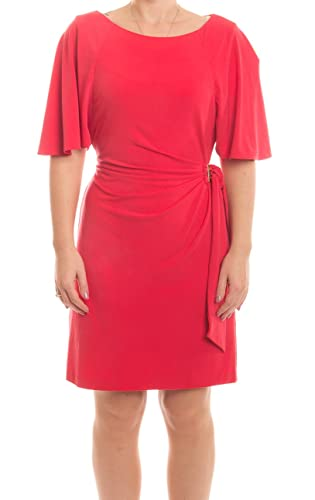 Tahari by ASL Petite Bell Sleeve Side Tie Dress, Dark Coral, 14P