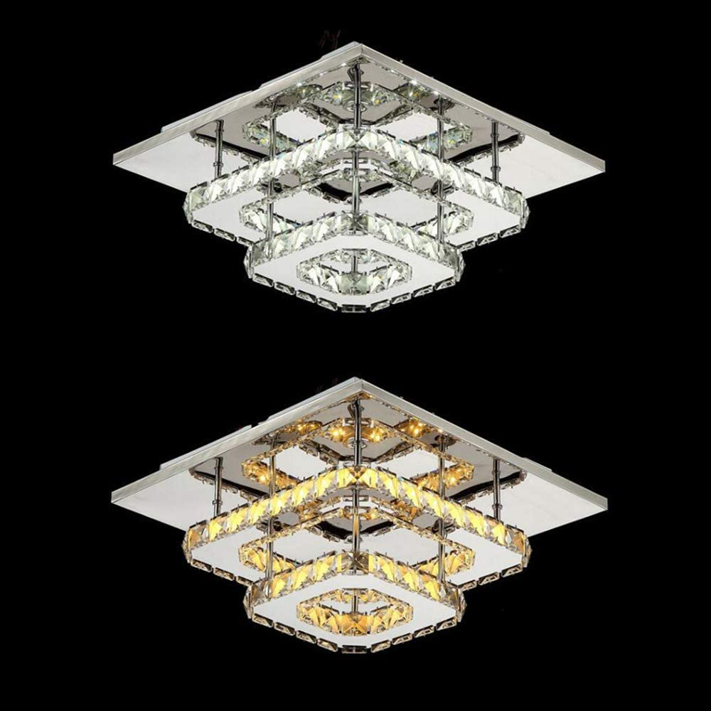 Plafonnier En Cristal LED Plafonnier Carr/é Lustre /À Couleur Changeante T/él/écommande Dimmable Plafonniers En Acier Inoxydable Pour Couloir Balcon Chambre Salon All/ée Double Couche /Ø30cm