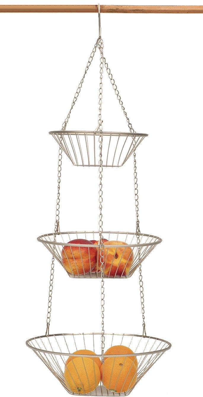 Uncategorized Hanging Wire Vegetable Basket 3 tier satin nickel hanging vegetable basket amazon in home kitchen