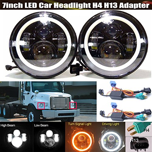 7' Headlamp Round Conversion (Pair Sealed Beam LED Headlights 7 Inch Round With Turn Signal Amber Angel Eyes Halo Ring For Freightliner Peterbilt Kenworth Conversion Kit High Beam / Low Beam / DRL)