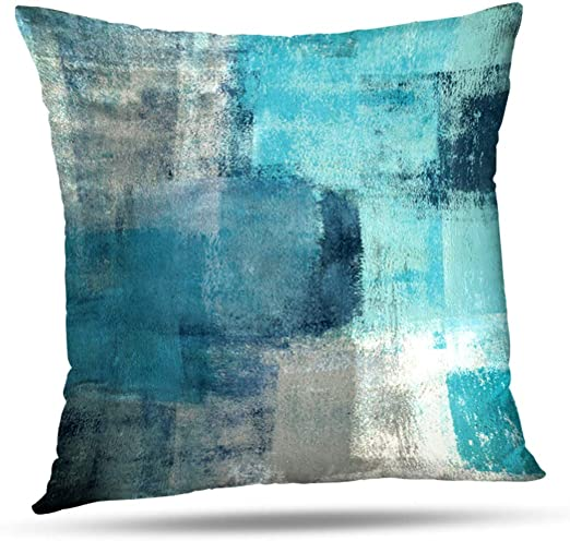 Amazon.com: Alricc Turquoise and Grey Art Artwork Contemporary