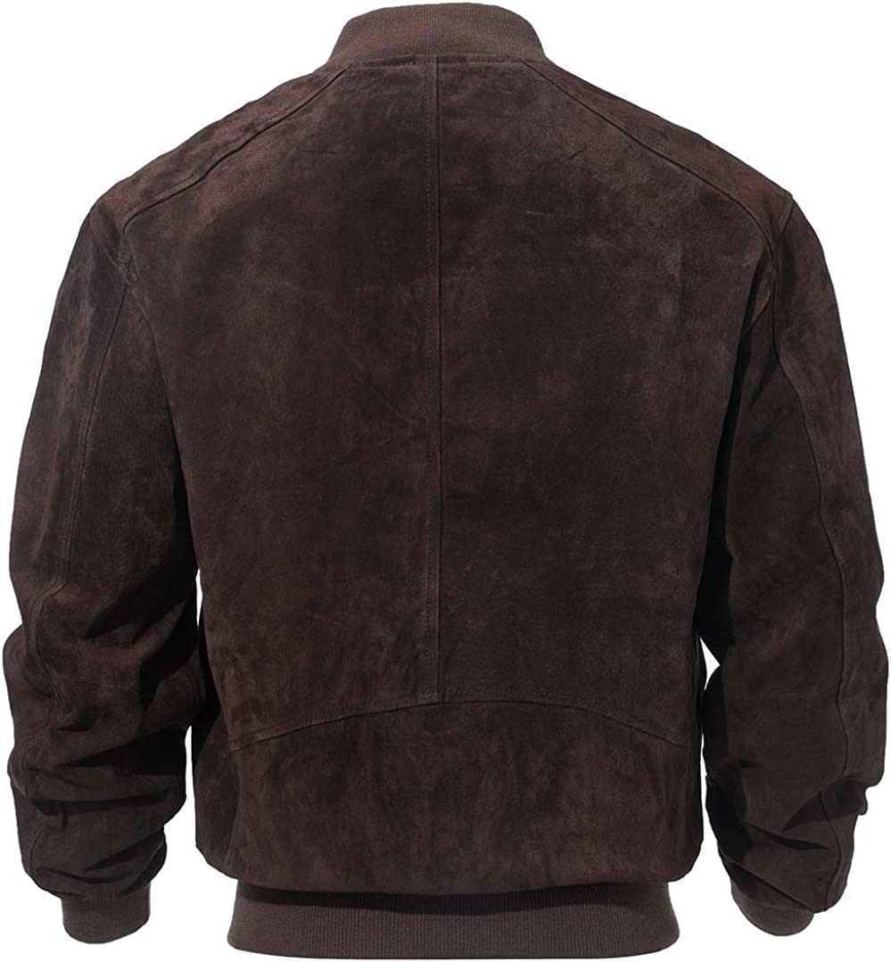 XX-Large, Dark Brown FLAVOR Mens Leather Baseball Jacket Vintage Suede Pigskin