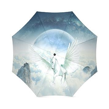 Paraguas de viaje para mujer, color blanco, con unicornio, plegable, resistente al