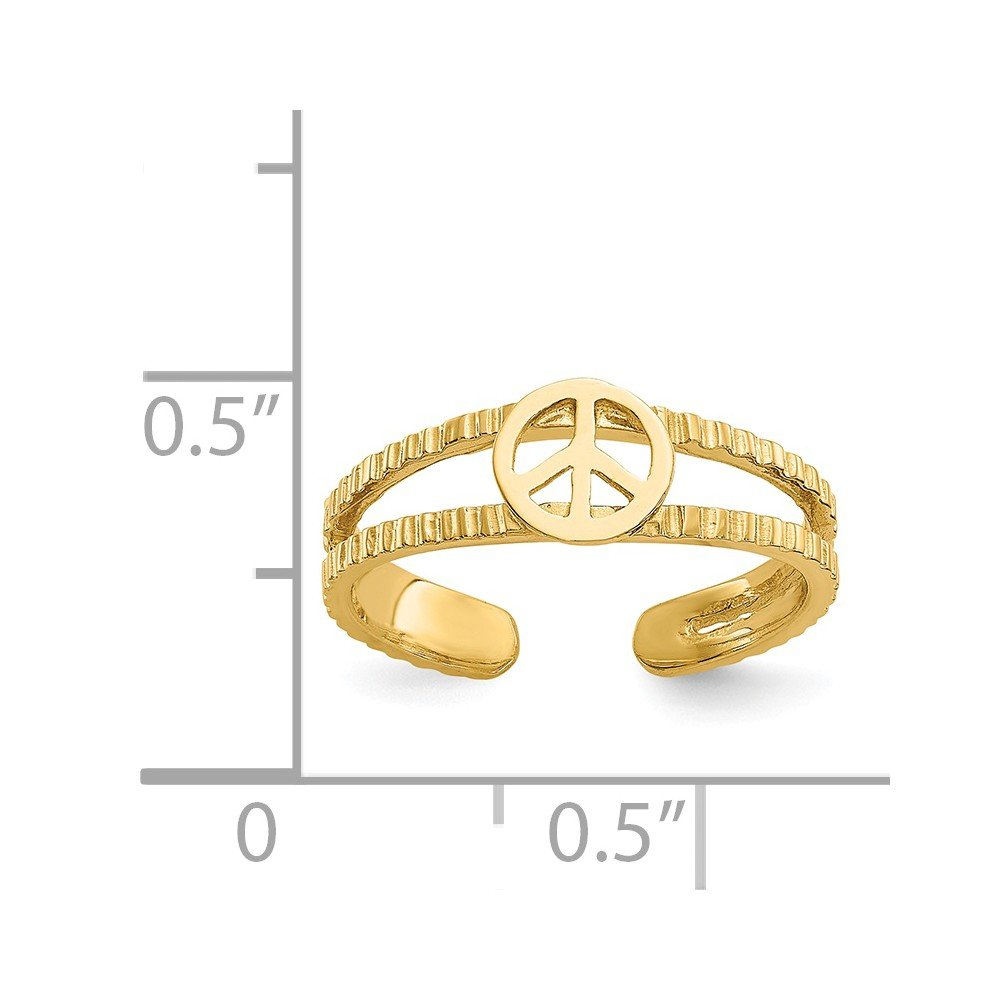 14k Yellow Gold Polished Sparkle-Cut Peace Sign Toe Ring by JewelryWeb (Image #2)