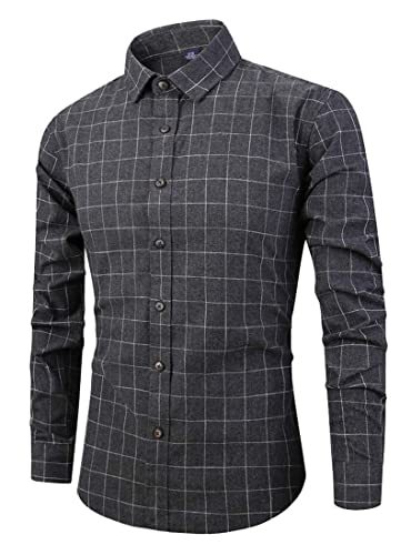 WSPLYSPJY Mens Premium Performance Natural Stretch Plaid Long Sleeve Shirt