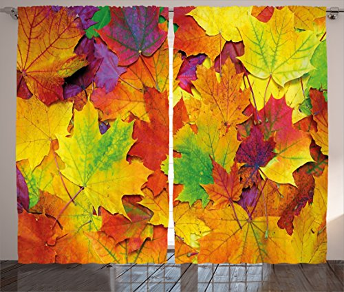 """Ambesonne Fall Curtains, Different Colored Vibrant Many Autumn Maple Leaves Nature in November Scenery Photo, Living Room Bedroom Window Drapes 2 Panel Set, 108"""" X 84"""", Purple Yellow"""