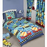 Construction Time Junior/Toddler Duvet Cover and Pillowcase Set+ Matching Curtains 66'' x 54''