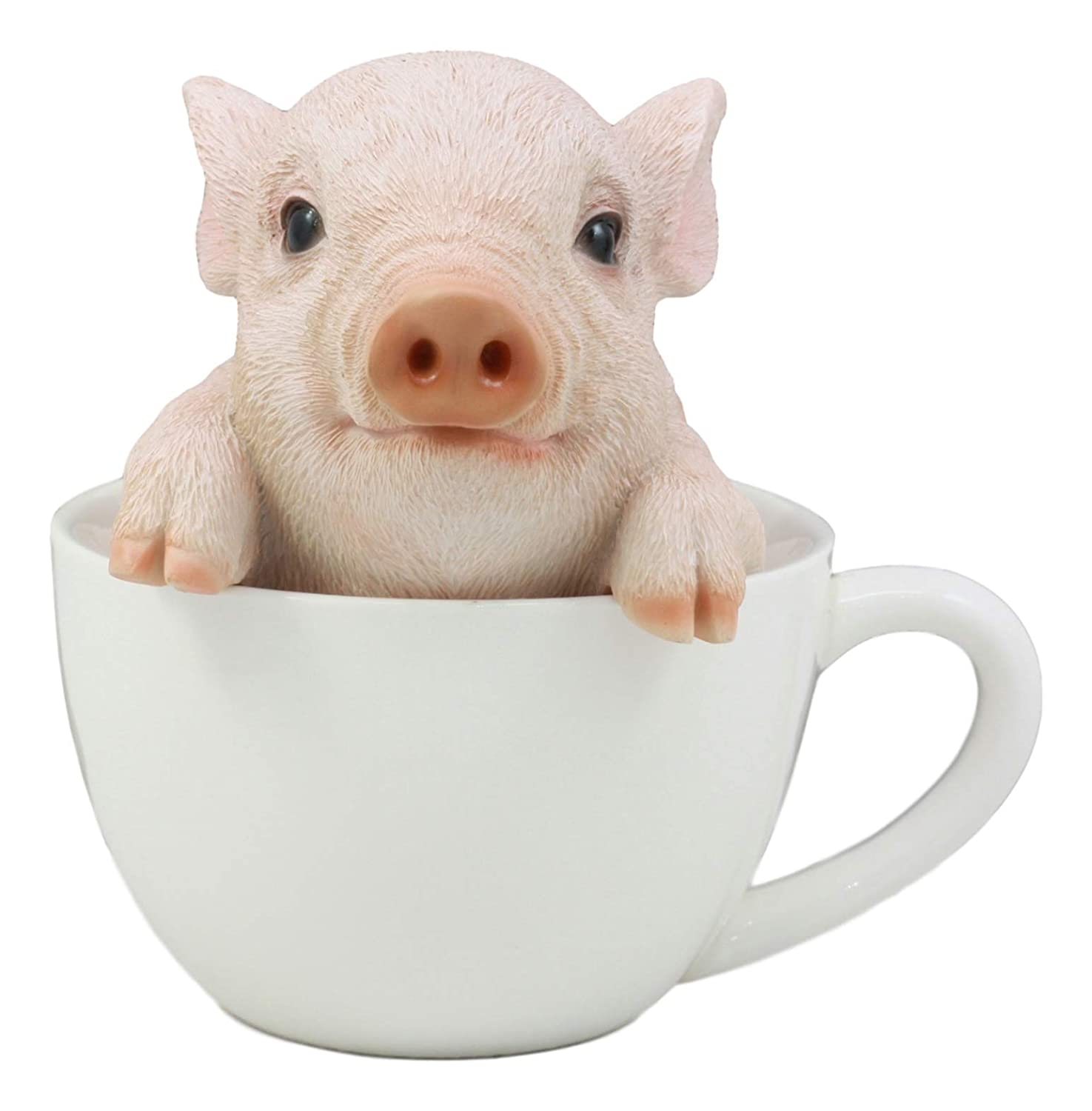 "Ebros Adorable Babe Teacup Pig Figurine 5.25"" Tall Realistic Animal Collectible Design Decor Statue with Glass Eyes"