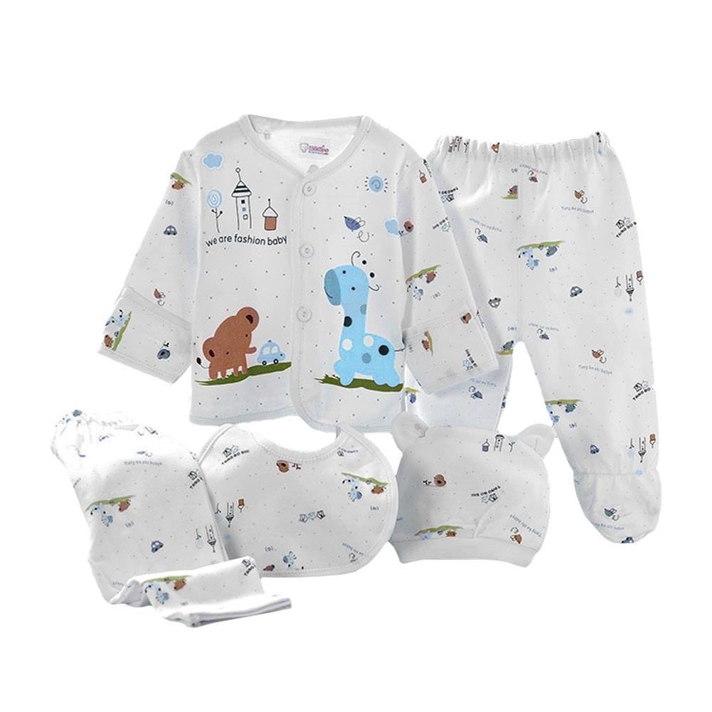 Babywow 5PCS Newborn 0-3M Boys Girls Baby Cotton Tops Hat Pants Suit Outfit Sets CA186131676