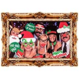 Christmas Novelty Photobooth Creative Selfie Picture Frame Card Props Hats Glasses Moustaches Festive Family Fun Party Set